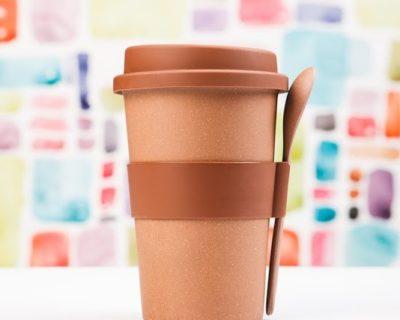 Стакан для кофе с ложкой 500 мл (коричневый)